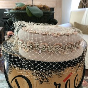 Vintage 50's / 60's Velvet Sequin Pillbox Hat
